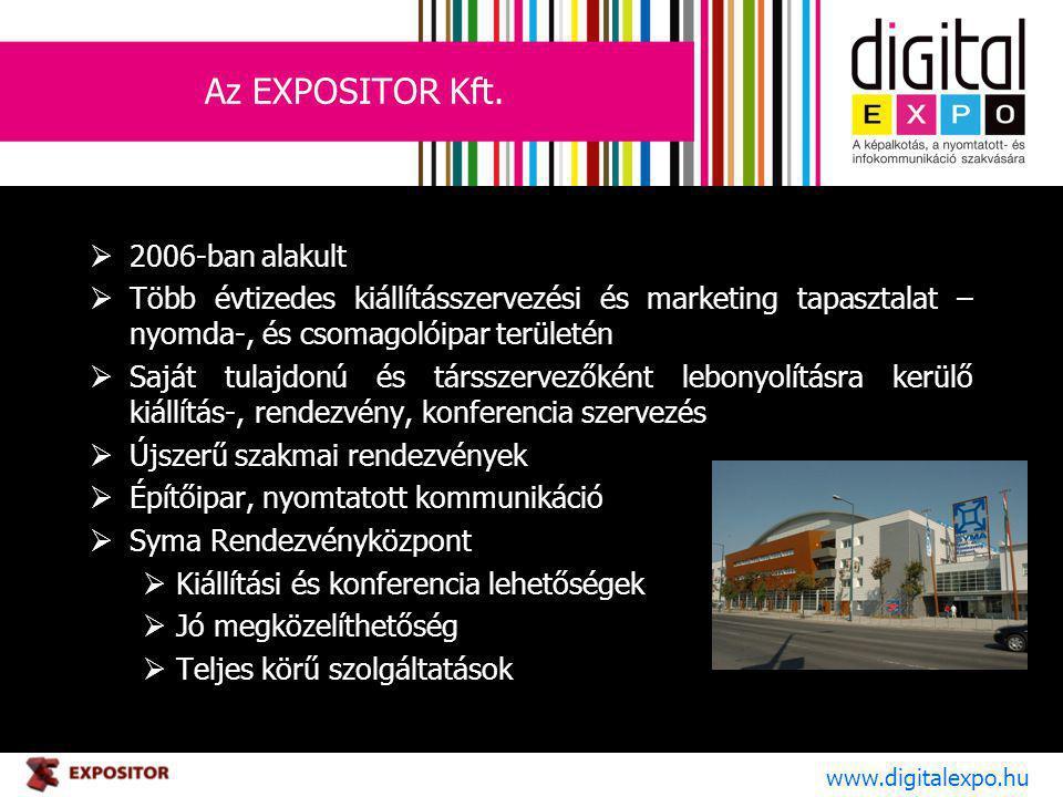 Az EXPOSITOR Kft.  2006-ban alakult  Több évtizedes kiállításszervezési és marketing tapasztalat – nyomda-, és csomagolóipar területén  Saját tulaj