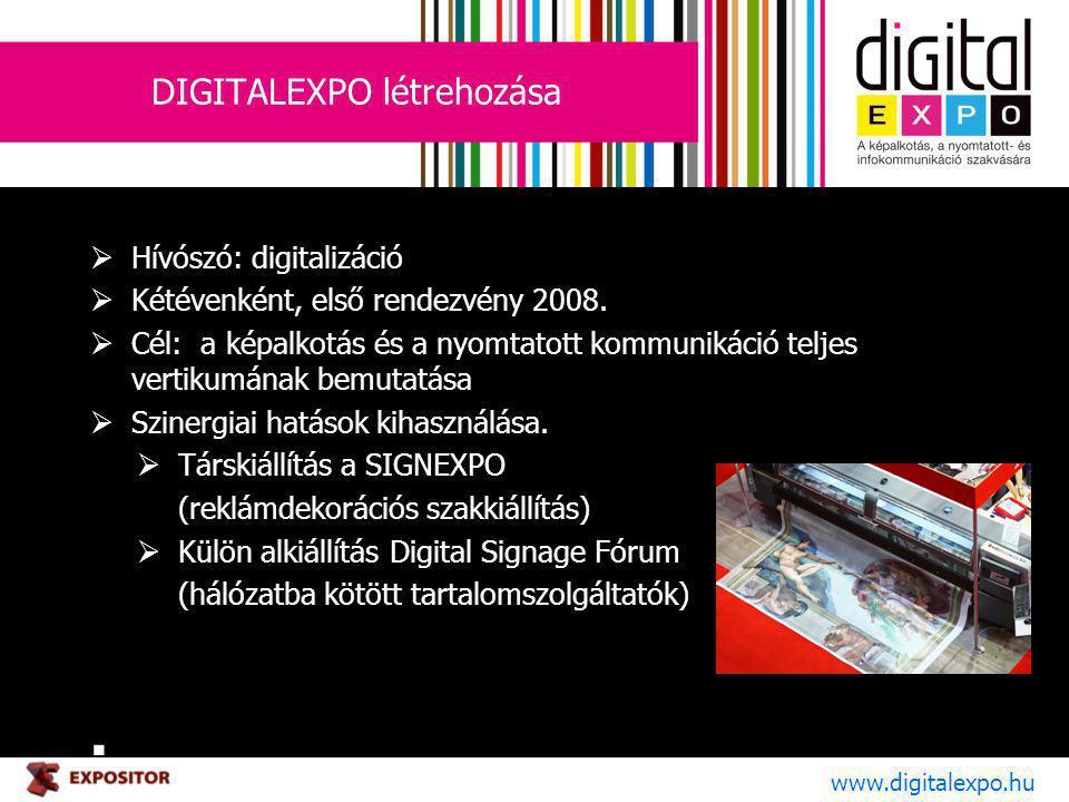 DIGITALEXPO létrehozása  Hívószó: digitalizáció  Kétévenként, első rendezvény 2008.  Cél: a képalkotás és a nyomtatott kommunikáció teljes vertikum