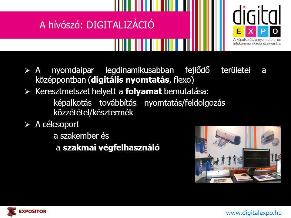 A hívószó: DIGITALIZÁCIÓ  A nyomdaipar legdinamikusabban fejlődő területei a középpontban (digitális nyomtatás, flexo)  Keresztmetszet helyett a folyamat bemutatása: képalkotás - továbbítás - nyomtatás/feldolgozás - közzététel/késztermék  A célcsoport a szakember és a szakmai végfelhasználó www.digitalexpo.hu