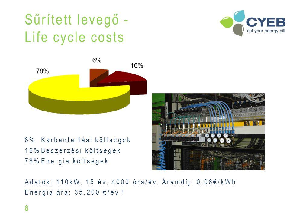6%Karbantartási költségek 16%Beszerzési költségek 78%Energia költségek Adatok: 110kW, 15 év, 4000 óra/év, Áramdíj: 0,08€/kWh Energia ára: 35.200 €/év .