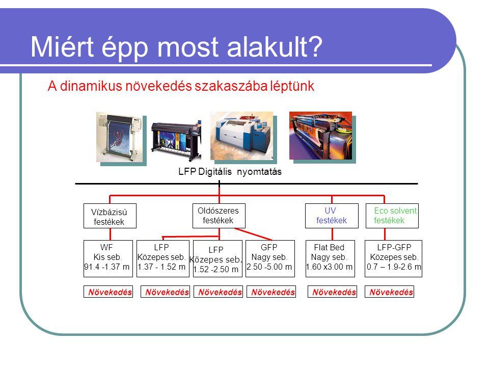 LFP Digitális nyomtatás Vízbázisú festékek UV festékek Oldószeres festékek WF Kis seb.