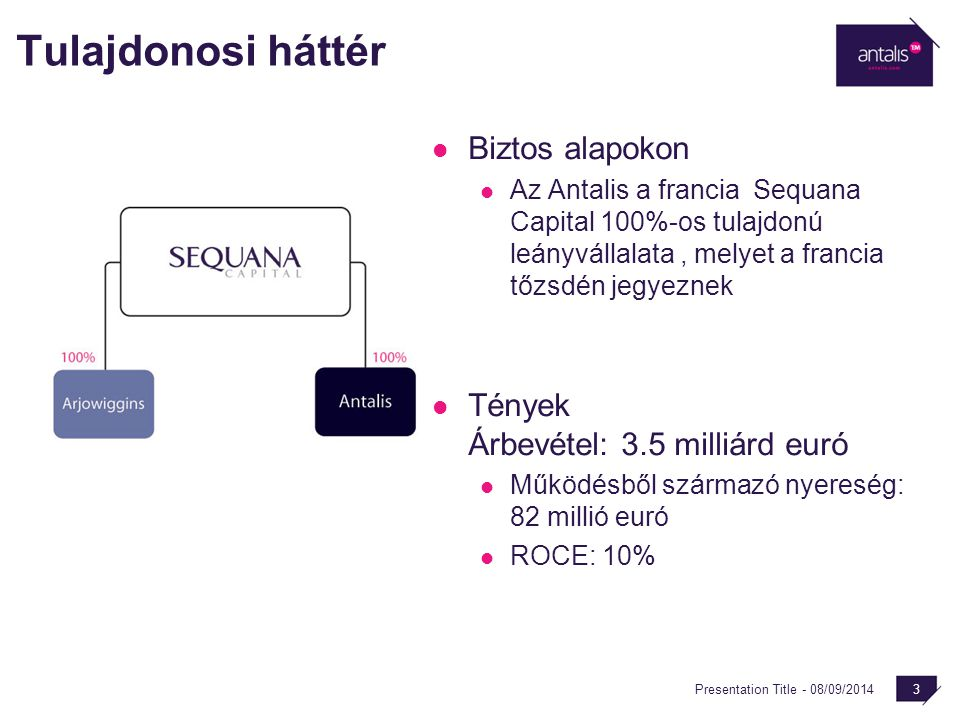 Presentation Title - 08/09/2014 3 Tulajdonosi háttér Biztos alapokon Az Antalis a francia Sequana Capital 100%-os tulajdonú leányvállalata, melyet a f