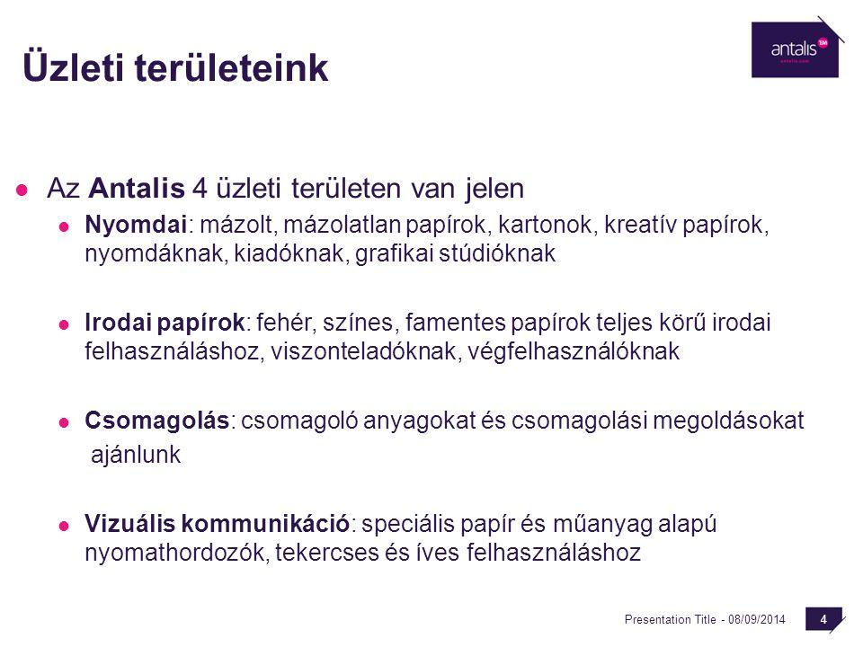 Presentation Title - 08/09/2014 4 Üzleti területeink Az Antalis 4 üzleti területen van jelen Nyomdai: mázolt, mázolatlan papírok, kartonok, kreatív pa