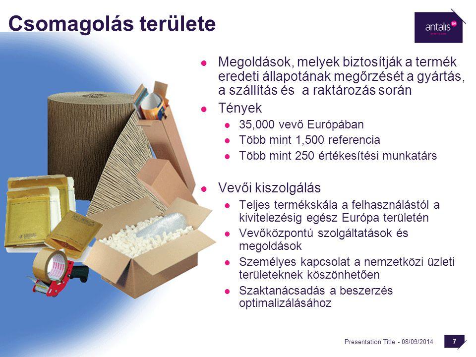 Presentation Title - 08/09/2014 7 Csomagolás területe Megoldások, melyek biztosítják a termék eredeti állapotának megőrzését a gyártás, a szállítás és