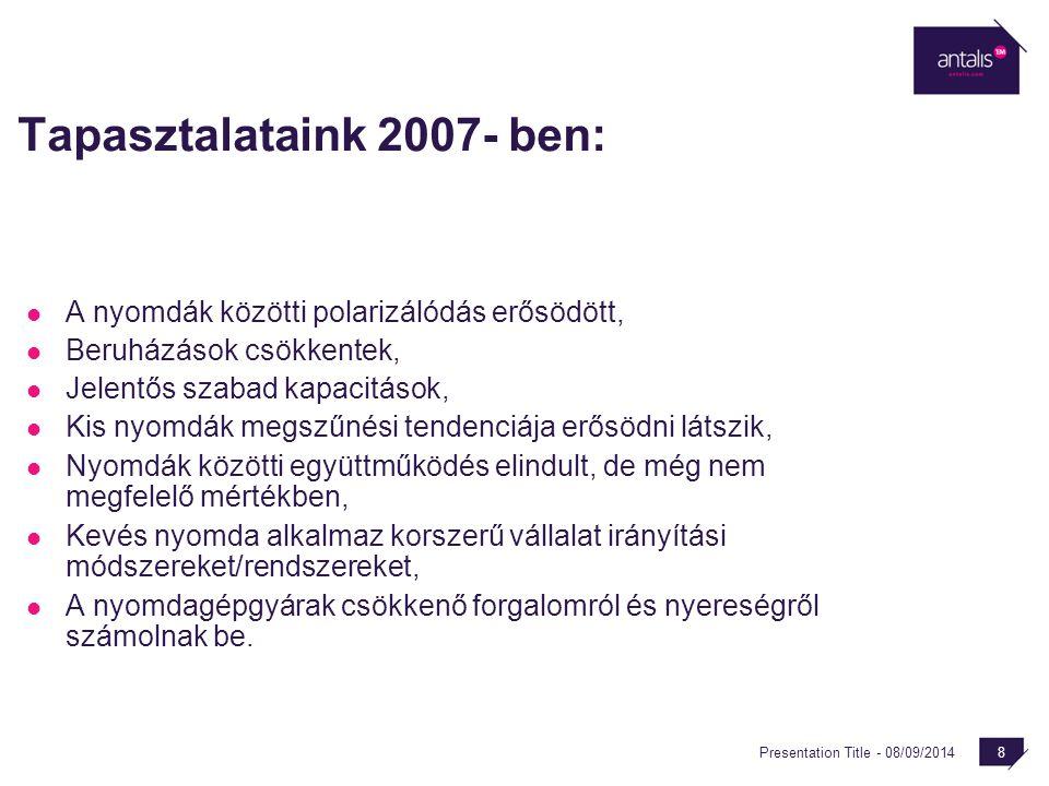 Presentation Title - 08/09/2014 8 Tapasztalataink 2007- ben: A nyomdák közötti polarizálódás erősödött, Beruházások csökkentek, Jelentős szabad kapaci
