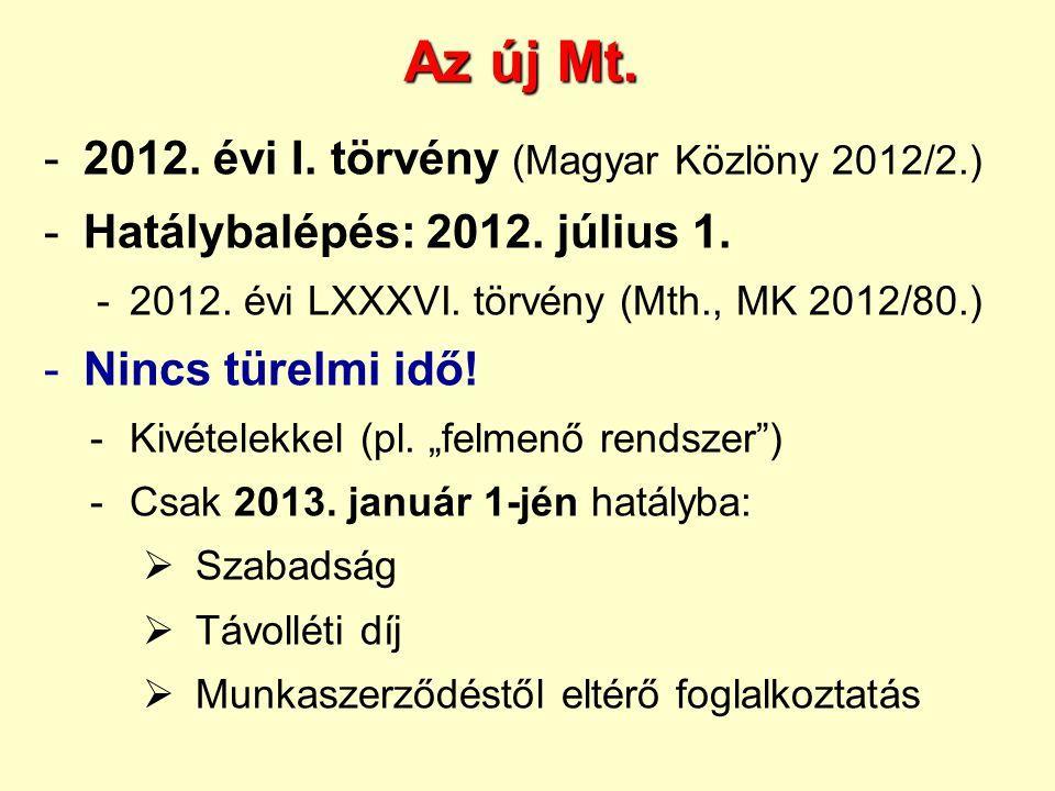 Az új Mt. -2012. évi I. törvény (Magyar Közlöny 2012/2.) -Hatálybalépés: 2012. július 1. -2012. évi LXXXVI. törvény (Mth., MK 2012/80.) -Nincs türelmi