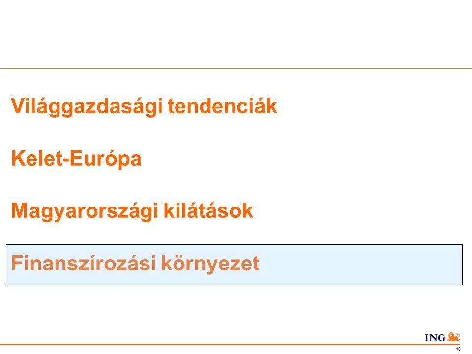 Do not put content in the Brand Signature area 18 Világgazdasági tendenciák Kelet-Európa Magyarországi kilátások Finanszírozási környezet