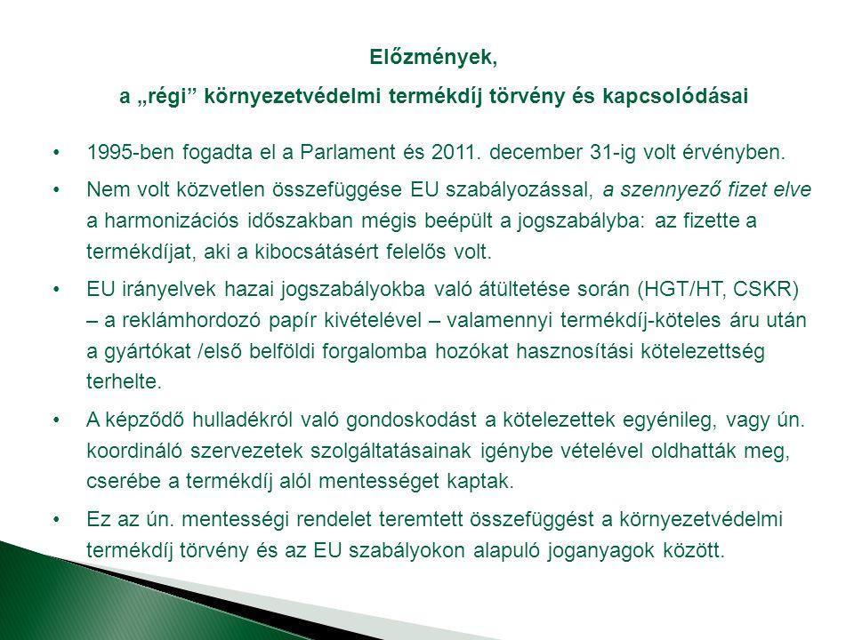 """Előzmények, a """"régi környezetvédelmi termékdíj törvény és kapcsolódásai 1995-ben fogadta el a Parlament és 2011."""