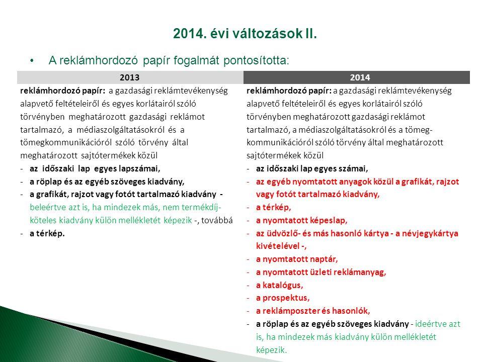 2014.évi változások II.
