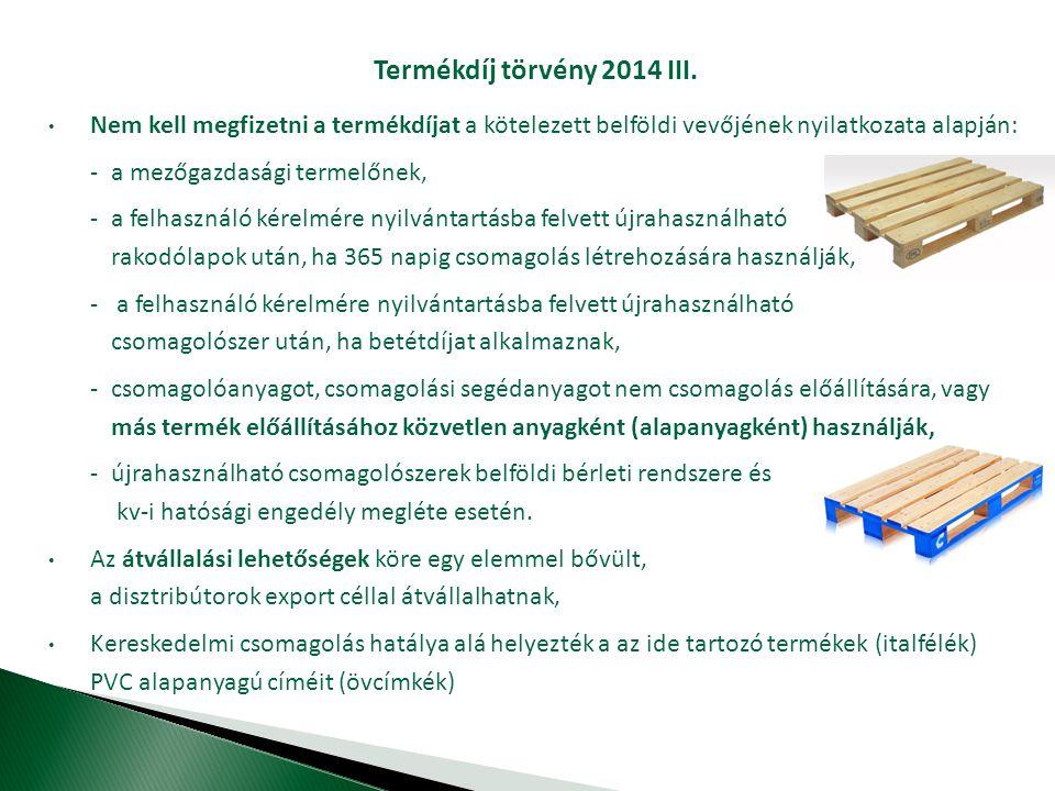 Termékdíj törvény 2014 III.