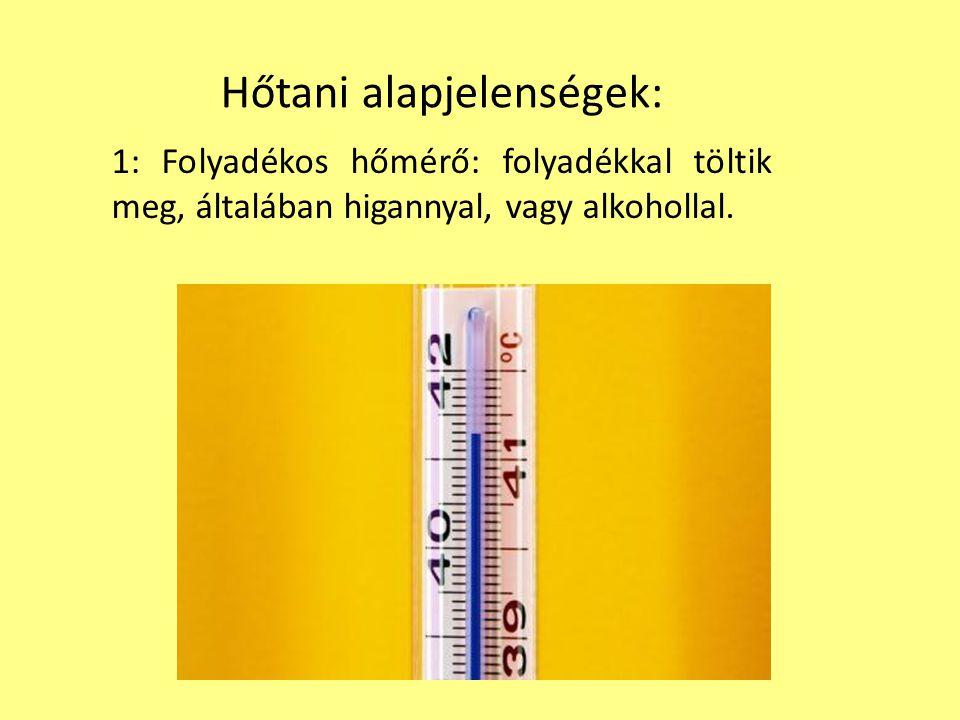 Hőtani alapjelenségek: 1: Folyadékos hőmérő: folyadékkal töltik meg, általában higannyal, vagy alkohollal.