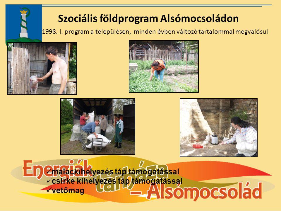 Szociális földprogram Alsómocsoládon 1998. I. program a településen, minden évben változó tartalommal megvalósul malackihelyezés táp támogatással csir