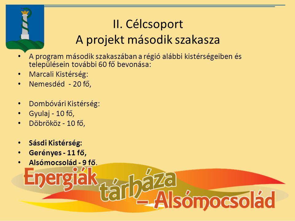 II. Célcsoport A projekt második szakasza A program második szakaszában a régió alábbi kistérségeiben és településein további 60 fő bevonása: Marcali