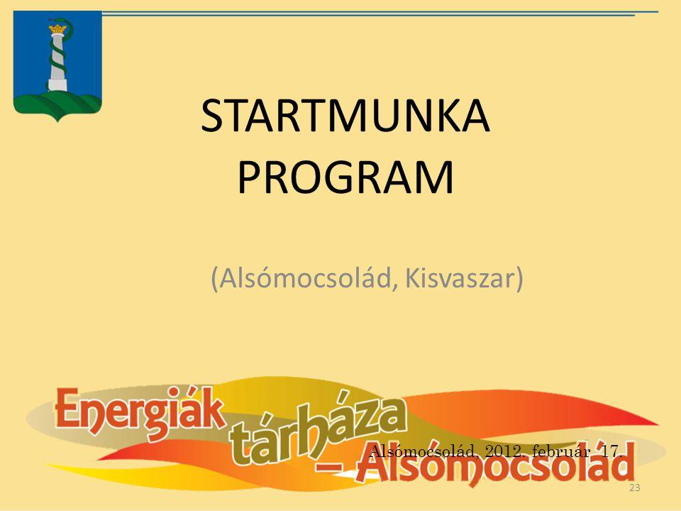 STARTMUNKA PROGRAM (Alsómocsolád, Kisvaszar) 23 Alsómocsolád, 2012. február 17.