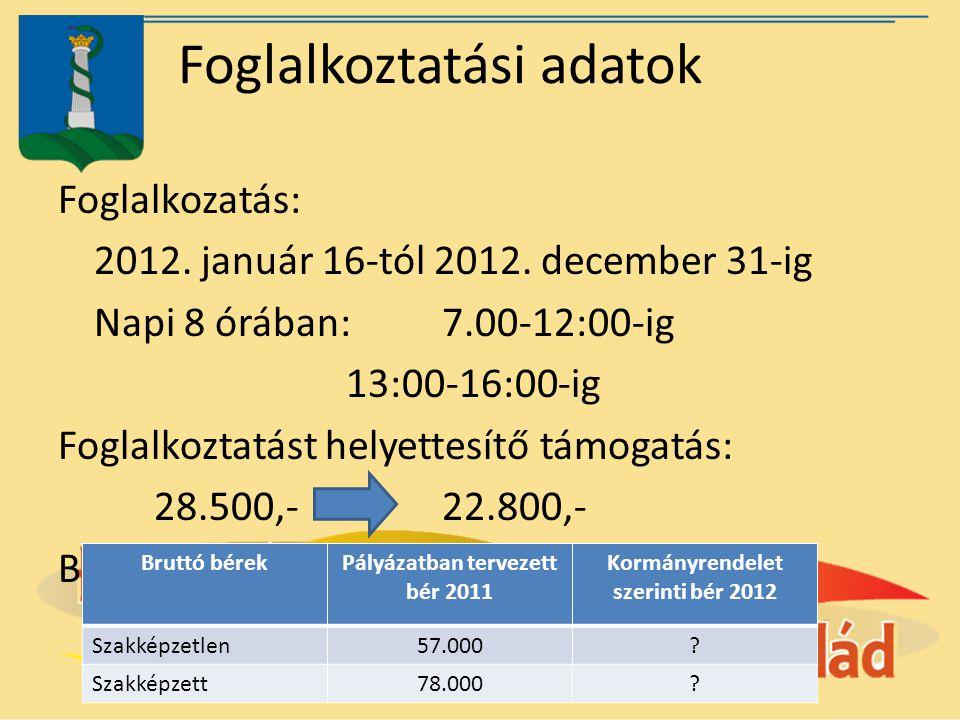 Foglalkoztatási adatok Foglalkozatás: 2012. január 16-tól 2012. december 31-ig Napi 8 órában: 7.00-12:00-ig 13:00-16:00-ig Foglalkoztatást helyettesít