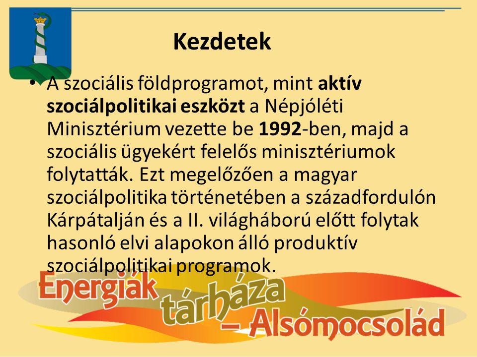 Kezdetek A szociális földprogramot, mint aktív szociálpolitikai eszközt a Népjóléti Minisztérium vezette be 1992-ben, majd a szociális ügyekért felelő