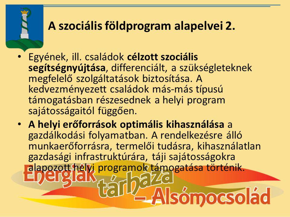 A szociális földprogram alapelvei 2. Egyének, ill. családok célzott szociális segítségnyújtása, differenciált, a szükségleteknek megfelelő szolgáltatá