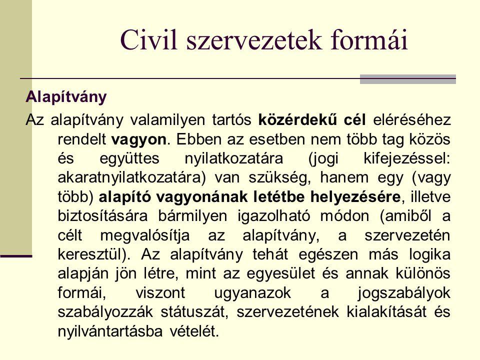 Civil szervezetek formái Alapítvány Az alapítvány valamilyen tartós közérdekű cél eléréséhez rendelt vagyon.