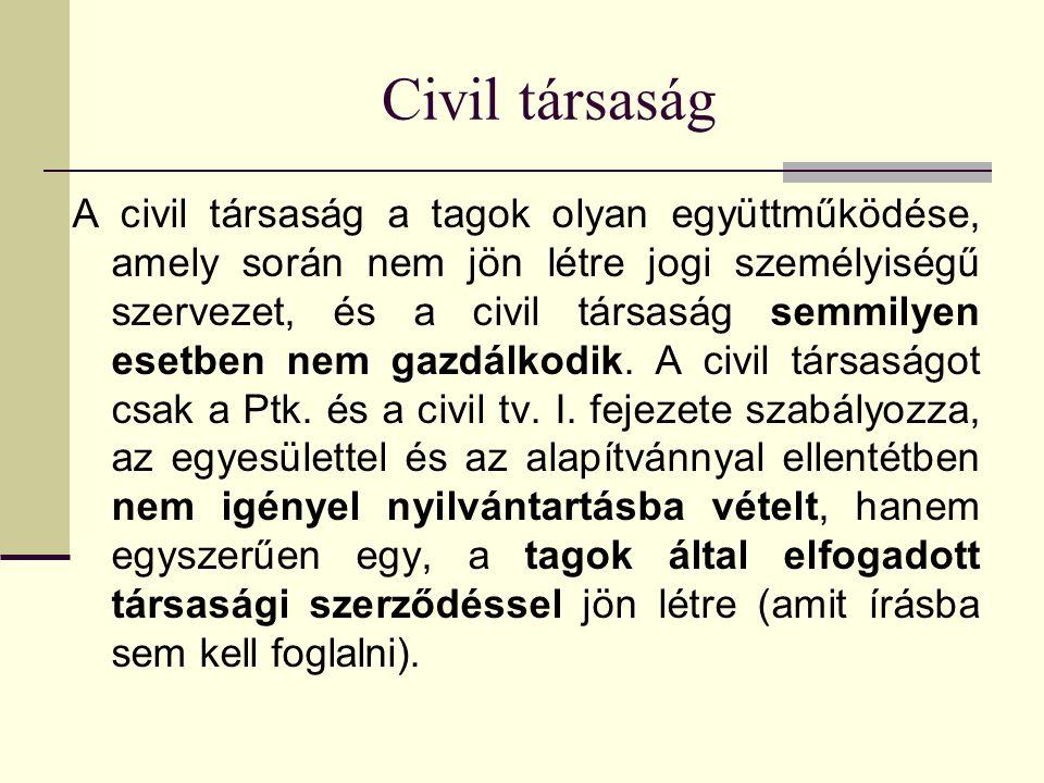 Civil társaság A civil társaság a tagok olyan együttműködése, amely során nem jön létre jogi személyiségű szervezet, és a civil társaság semmilyen esetben nem gazdálkodik.