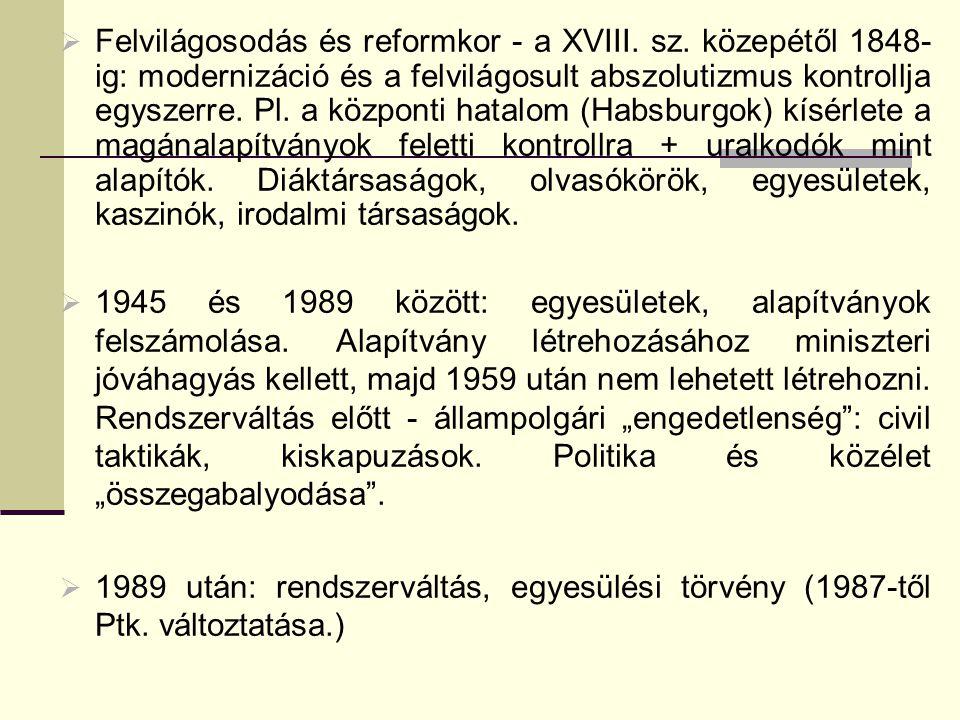 Törvényi előzmények 1987.évi 11. törvény az alapítványokról 1989.