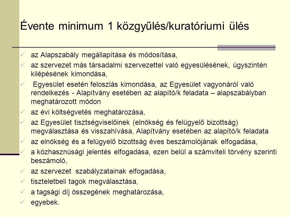 Évente minimum 1 közgyűlés/kuratóriumi ülés az Alapszabály megállapítása és módosítása, az szervezet más társadalmi szervezettel való egyesülésének, úgyszintén kilépésének kimondása, Egyesület esetén feloszlás kimondása, az Egyesület vagyonáról való rendelkezés - Alapítvány esetében az alapító/k feladata – alapszabályban meghatározott módon az évi költségvetés meghatározása, az Egyesület tisztségviselőinek (elnökség és felügyelő bizottság) megválasztása és visszahívása, Alapítvány esetében az alapító/k feladata az elnökség és a felügyelő bizottság éves beszámolójának elfogadása, a közhasznúsági jelentés elfogadása, ezen belül a számviteli törvény szerinti beszámoló, az szervezet szabályzatainak elfogadása, tiszteletbeli tagok megválasztása, a tagsági díj összegének meghatározása, egyebek.