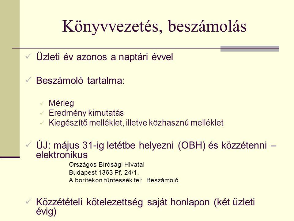 Könyvvezetés, beszámolás Üzleti év azonos a naptári évvel Beszámoló tartalma: Mérleg Eredmény kimutatás Kiegészítő melléklet, illetve közhasznú melléklet ÚJ: május 31-ig letétbe helyezni (OBH) és közzétenni – elektronikus Országos Bírósági Hivatal Budapest 1363 Pf.