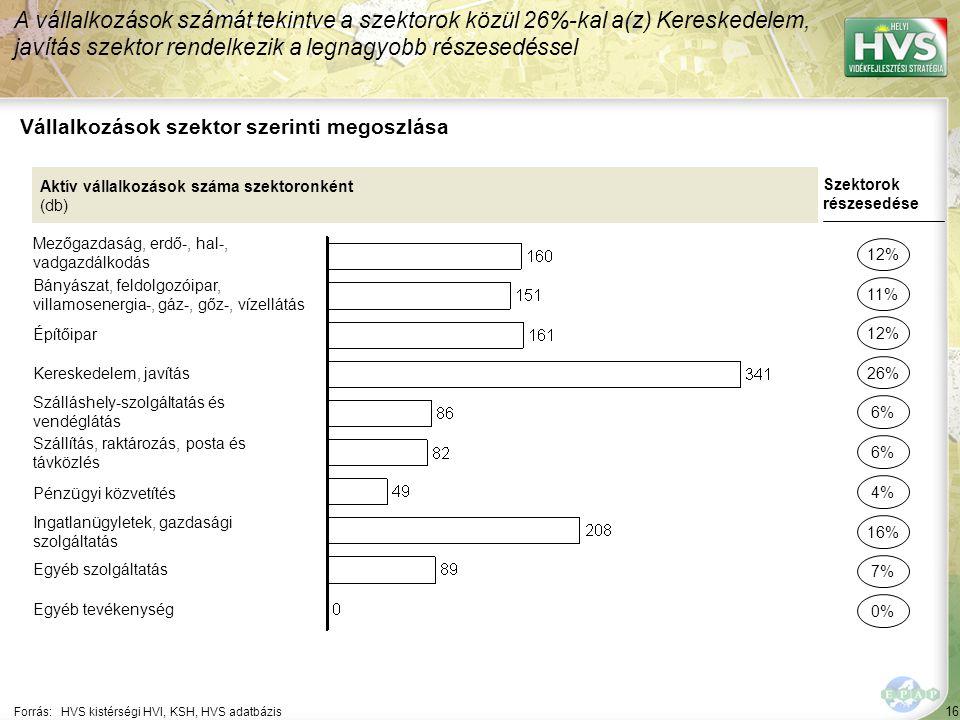 16 Forrás:HVS kistérségi HVI, KSH, HVS adatbázis Vállalkozások szektor szerinti megoszlása A vállalkozások számát tekintve a szektorok közül 26%-kal a(z) Kereskedelem, javítás szektor rendelkezik a legnagyobb részesedéssel Aktív vállalkozások száma szektoronként (db) Mezőgazdaság, erdő-, hal-, vadgazdálkodás Bányászat, feldolgozóipar, villamosenergia-, gáz-, gőz-, vízellátás Építőipar Kereskedelem, javítás Szálláshely-szolgáltatás és vendéglátás Szállítás, raktározás, posta és távközlés Pénzügyi közvetítés Ingatlanügyletek, gazdasági szolgáltatás Egyéb szolgáltatás Egyéb tevékenység Szektorok részesedése 12% 11% 26% 6% 16% 7% 0% 12% 4%