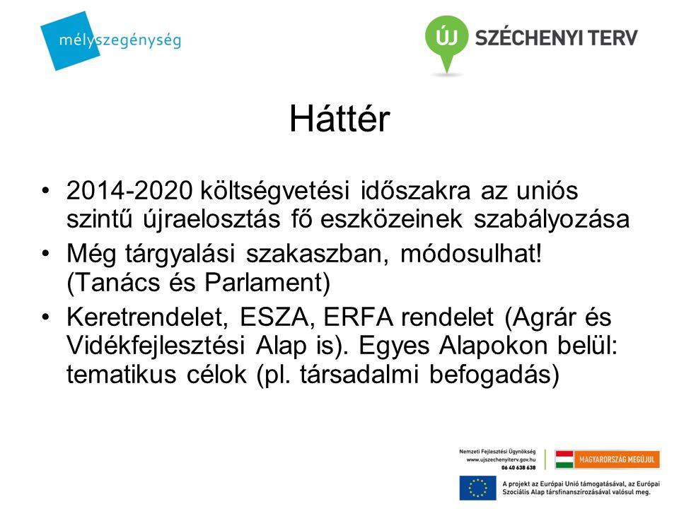Háttér 2014-2020 költségvetési időszakra az uniós szintű újraelosztás fő eszközeinek szabályozása Még tárgyalási szakaszban, módosulhat! (Tanács és Pa