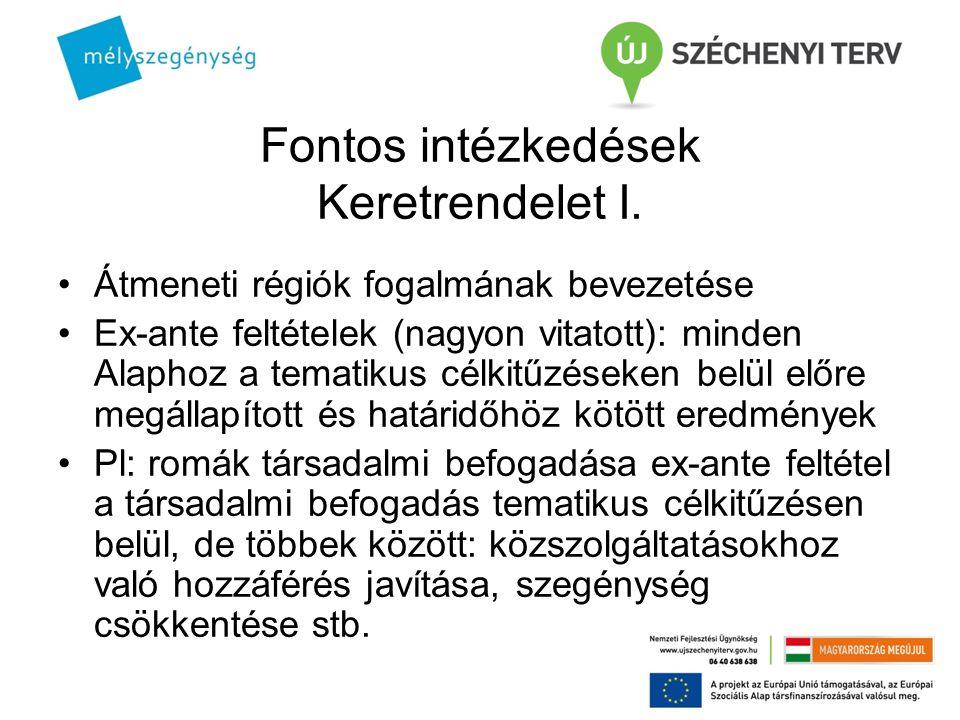 Fontos intézkedések Keretrendelet I. Átmeneti régiók fogalmának bevezetése Ex-ante feltételek (nagyon vitatott): minden Alaphoz a tematikus célkitűzés