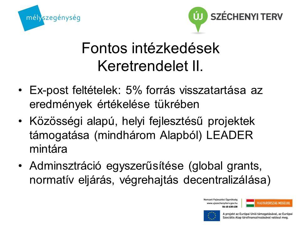 Fontos intézkedések Keretrendelet II. Ex-post feltételek: 5% forrás visszatartása az eredmények értékelése tükrében Közösségi alapú, helyi fejlesztésű