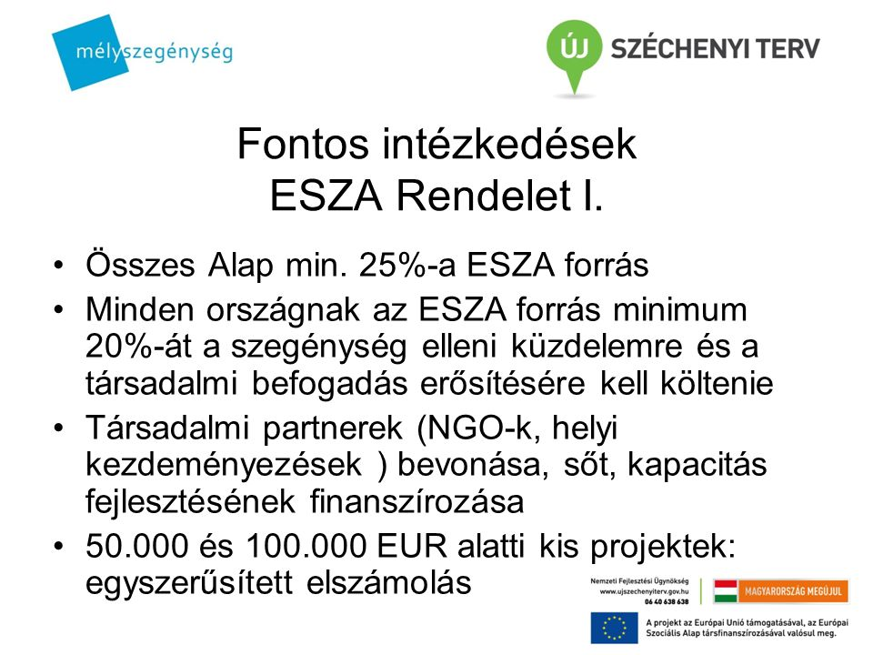 Fontos intézkedések ESZA Rendelet I. Összes Alap min. 25%-a ESZA forrás Minden országnak az ESZA forrás minimum 20%-át a szegénység elleni küzdelemre