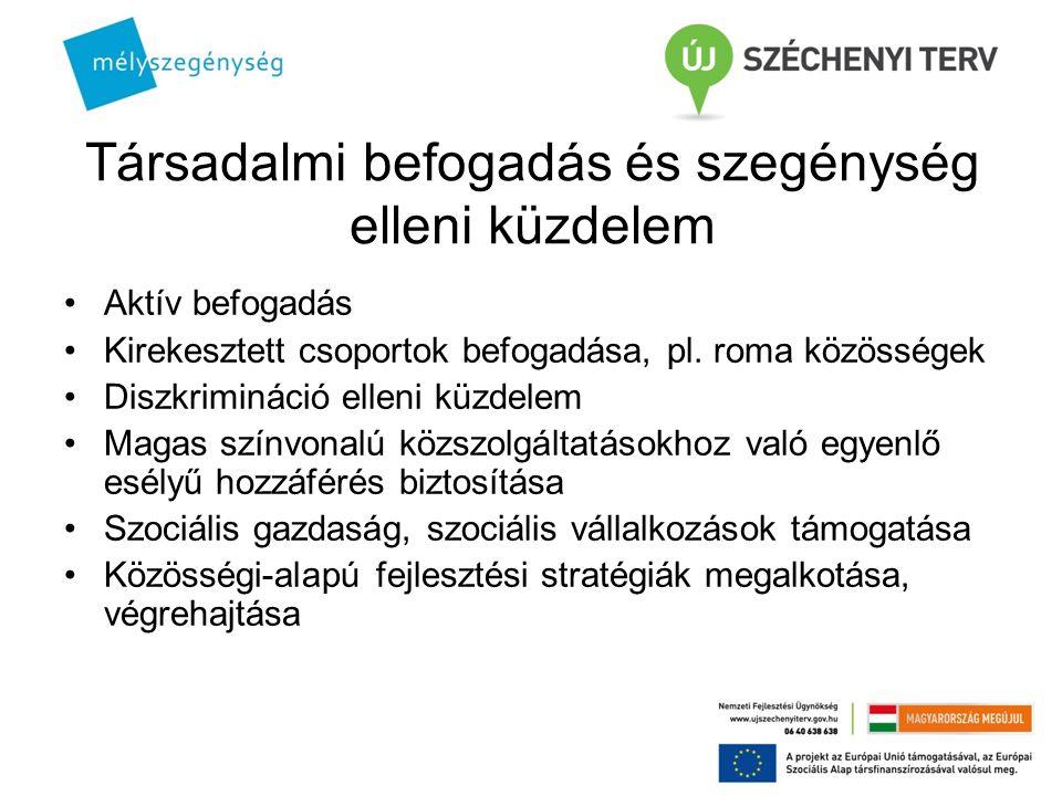 Társadalmi befogadás és szegénység elleni küzdelem Aktív befogadás Kirekesztett csoportok befogadása, pl. roma közösségek Diszkrimináció elleni küzdel