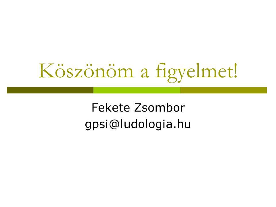 Köszönöm a figyelmet! Fekete Zsombor gpsi@ludologia.hu