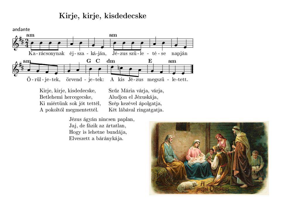 A kis Jézus megszületett Eleibe térdepelünk mindnyájan, Örvendezve énekelünk vígságban.