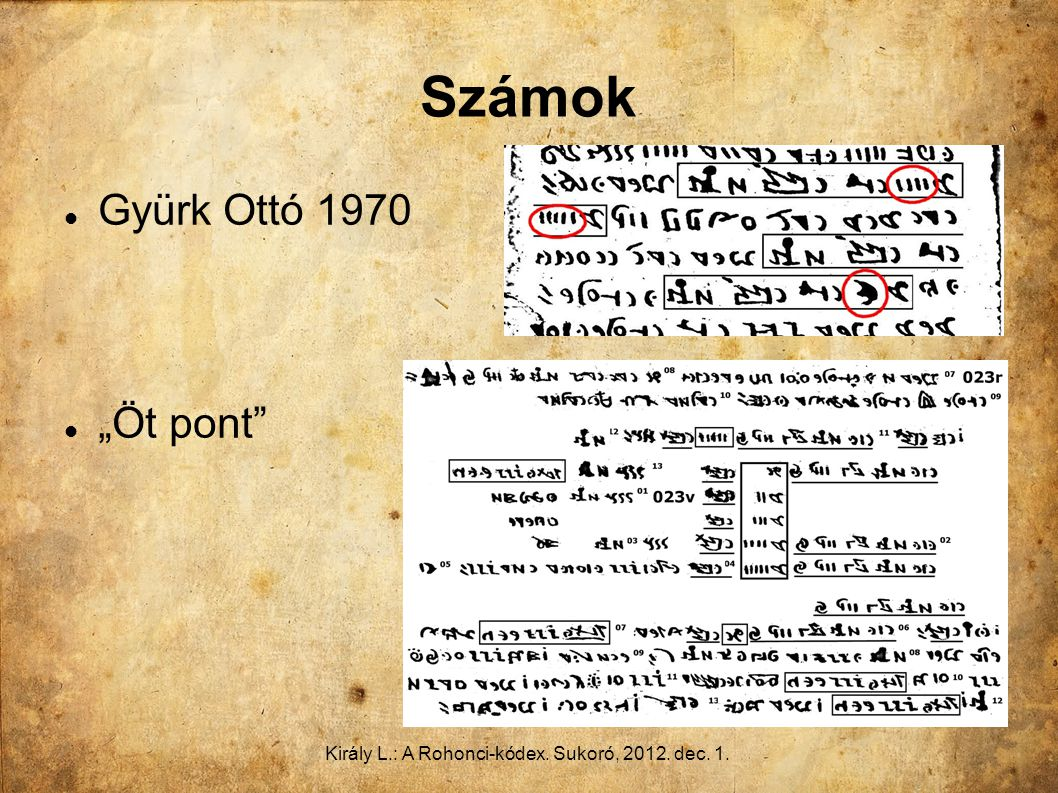 """Király L.: A Rohonci-kódex. Sukoró, 2012. dec. 1. Számok Gyürk Ottó 1970 """"Öt pont"""