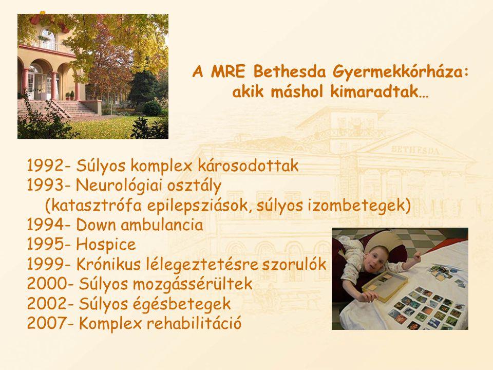 A MRE Bethesda Gyermekkórháza: akik máshol kimaradtak… 1992- Súlyos komplex károsodottak 1993- Neurológiai osztály (katasztrófa epilepsziások, súlyos