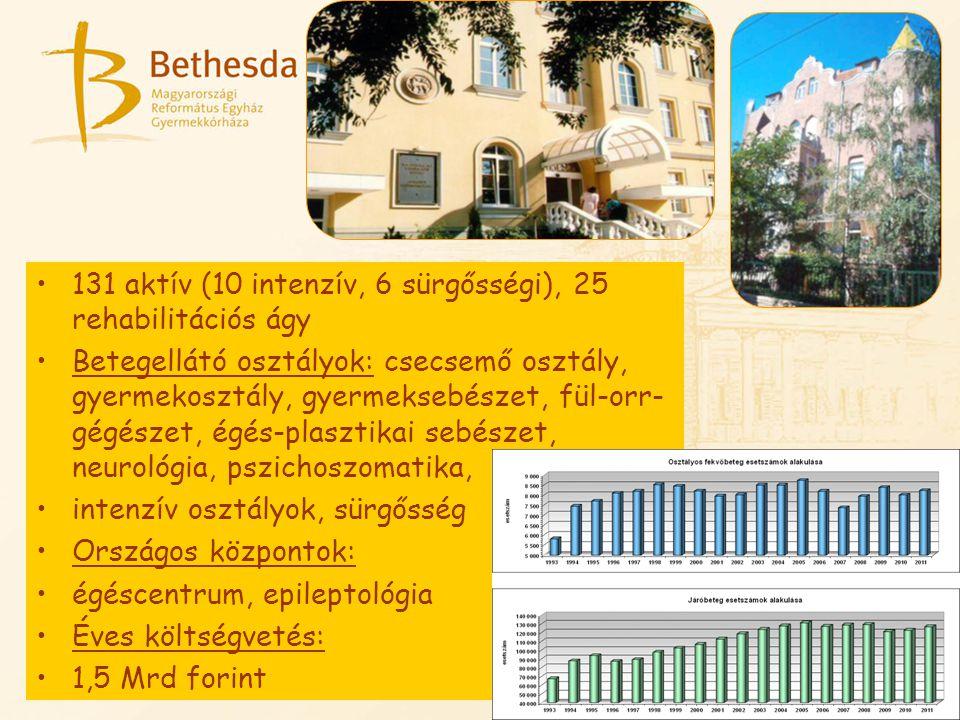 131 aktív (10 intenzív, 6 sürgősségi), 25 rehabilitációs ágy Betegellátó osztályok: csecsemő osztály, gyermekosztály, gyermeksebészet, fül-orr- gégész