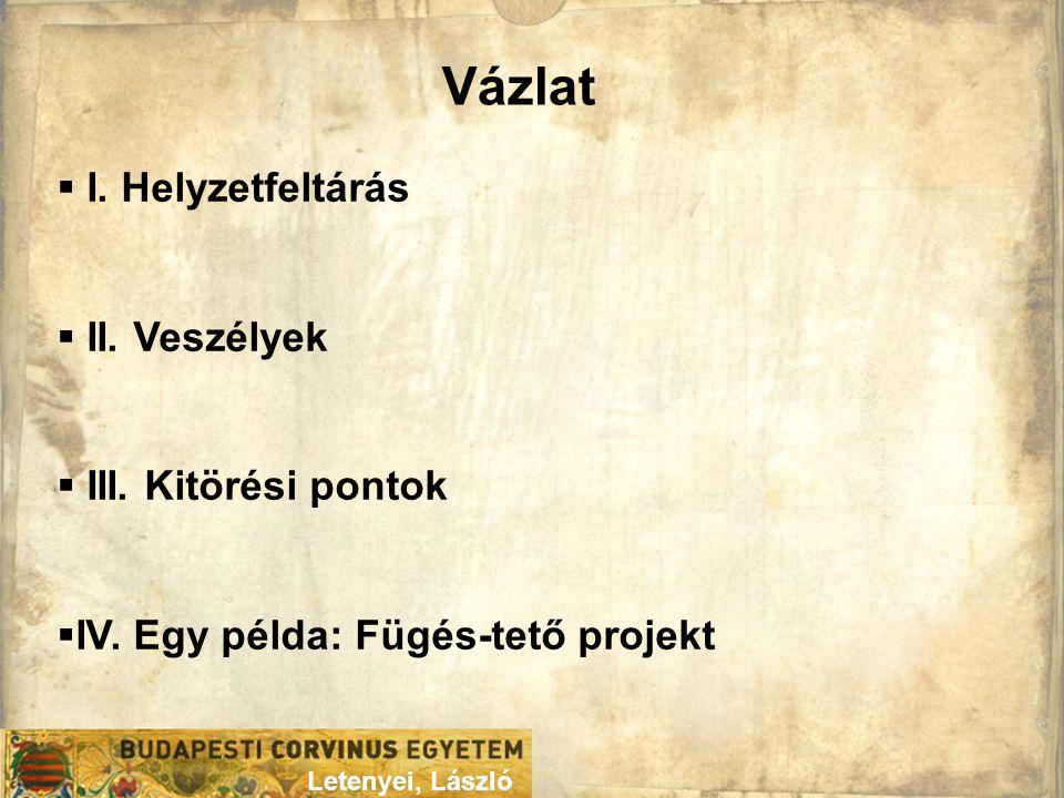 Vázlat Letenyei, László  I. Helyzetfeltárás  II. Veszélyek  III. Kitörési pontok  IV. Egy példa: Fügés-tető projekt