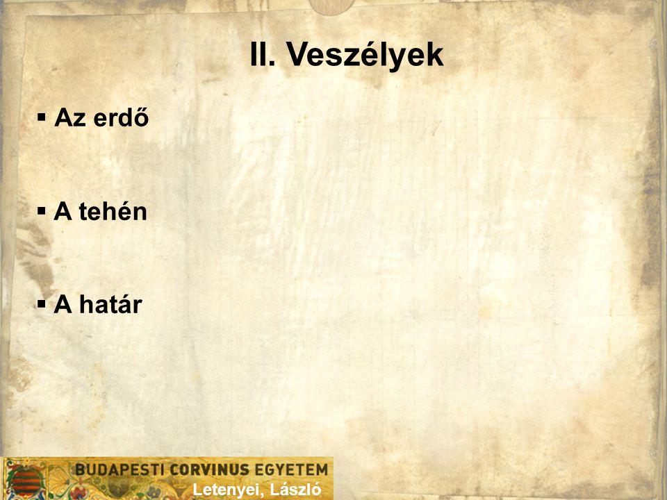 II. Veszélyek Letenyei, László  Az erdő  A tehén  A határ