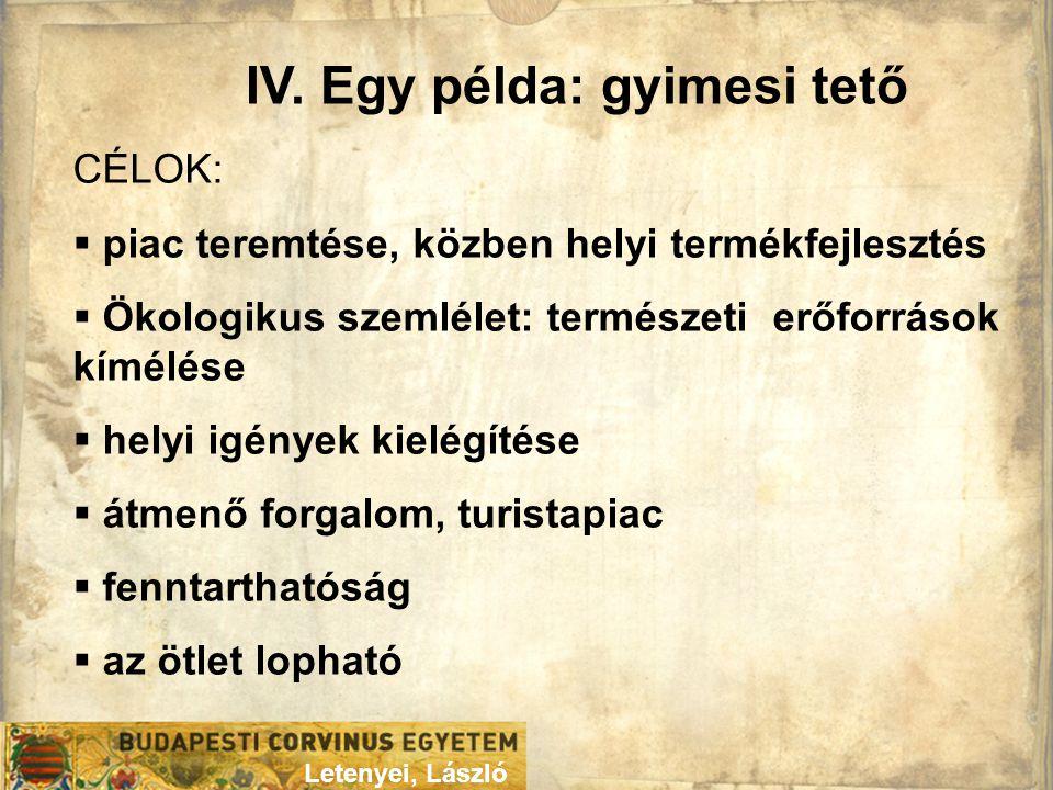 IV. Egy példa: gyimesi tető Letenyei, László CÉLOK:  piac teremtése, közben helyi termékfejlesztés  Ökologikus szemlélet: természeti erőforrások kím