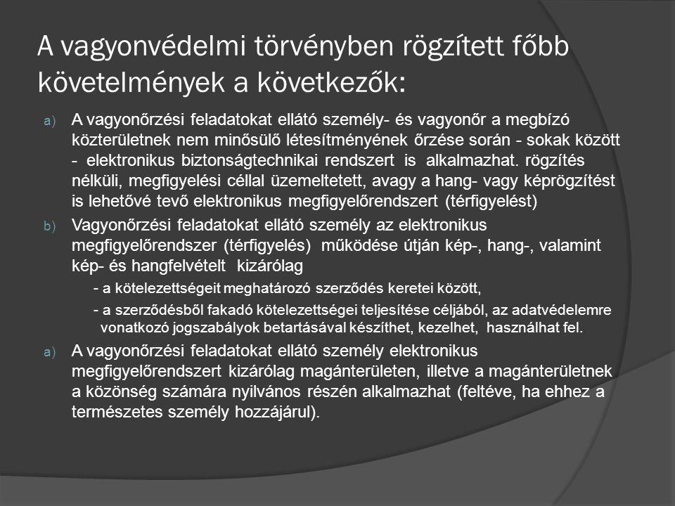 A vagyonvédelmi törvényben rögzített főbb követelmények a következők: a) A vagyonőrzési feladatokat ellátó személy- és vagyonőr a megbízó közterületne