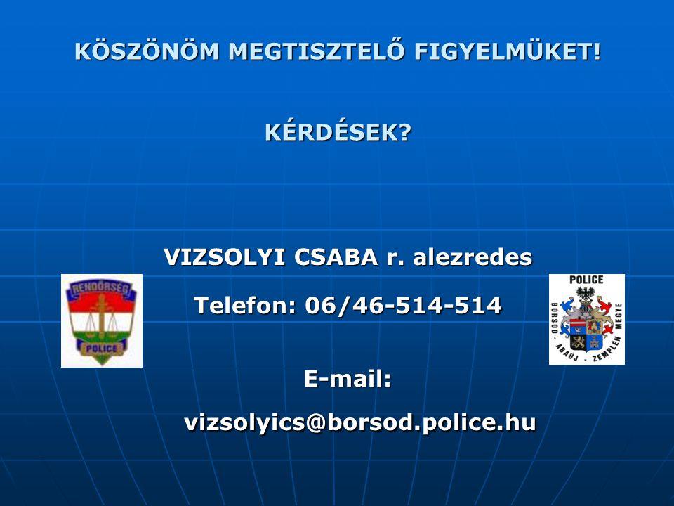 KÖSZÖNÖM MEGTISZTELŐ FIGYELMÜKET! KÉRDÉSEK? VIZSOLYI CSABA r. alezredes Telefon: 06/46-514-514 E-mail: vizsolyics@borsod.police.hu