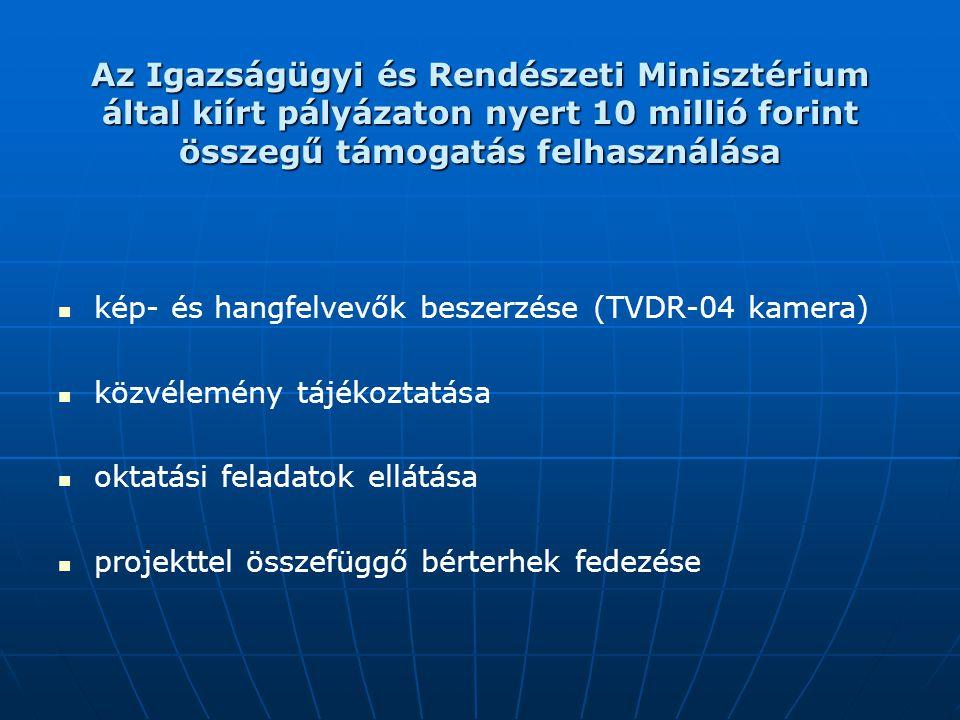 Az Igazságügyi és Rendészeti Minisztérium által kiírt pályázaton nyert 10 millió forint összegű támogatás felhasználása kép- és hangfelvevők beszerzés