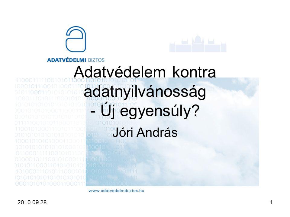 2010.09.28.1 Adatvédelem kontra adatnyilvánosság - Új egyensúly? Jóri András