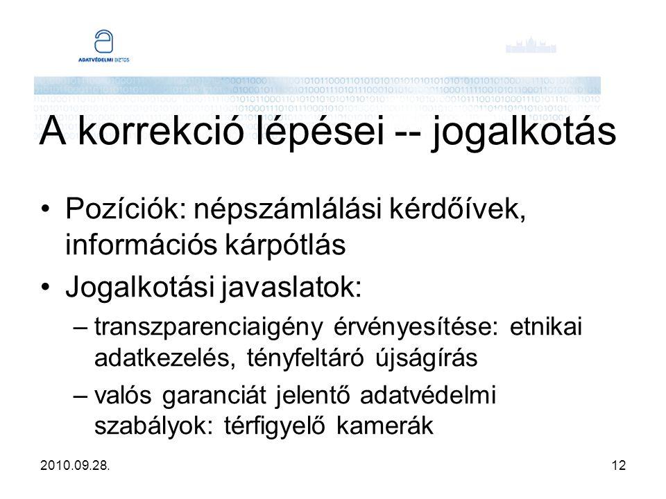 2010.09.28.12 A korrekció lépései -- jogalkotás Pozíciók: népszámlálási kérdőívek, információs kárpótlás Jogalkotási javaslatok: –transzparenciaigény