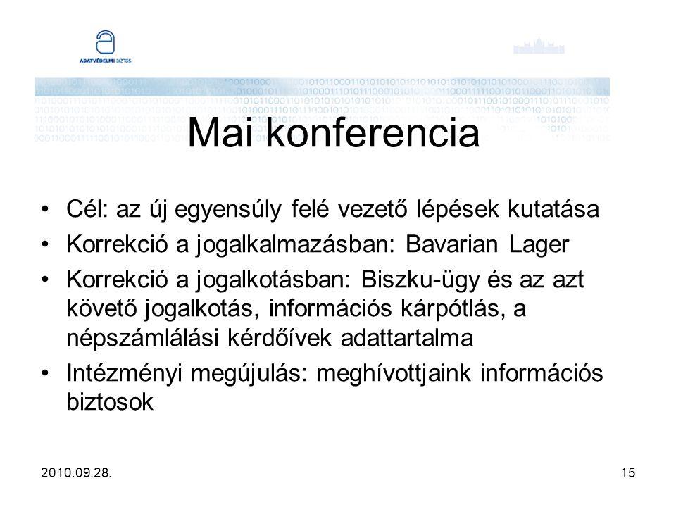 2010.09.28.15 Mai konferencia Cél: az új egyensúly felé vezető lépések kutatása Korrekció a jogalkalmazásban: Bavarian Lager Korrekció a jogalkotásban: Biszku-ügy és az azt követő jogalkotás, információs kárpótlás, a népszámlálási kérdőívek adattartalma Intézményi megújulás: meghívottjaink információs biztosok