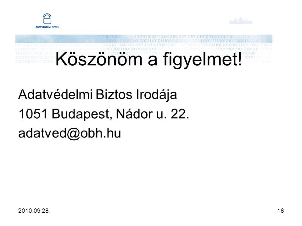 2010.09.28.16 Köszönöm a figyelmet! Adatvédelmi Biztos Irodája 1051 Budapest, Nádor u. 22. adatved@obh.hu