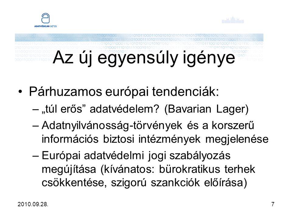 """2010.09.28.7 Az új egyensúly igénye Párhuzamos európai tendenciák: –""""túl erős"""" adatvédelem? (Bavarian Lager) –Adatnyilvánosság-törvények és a korszerű"""
