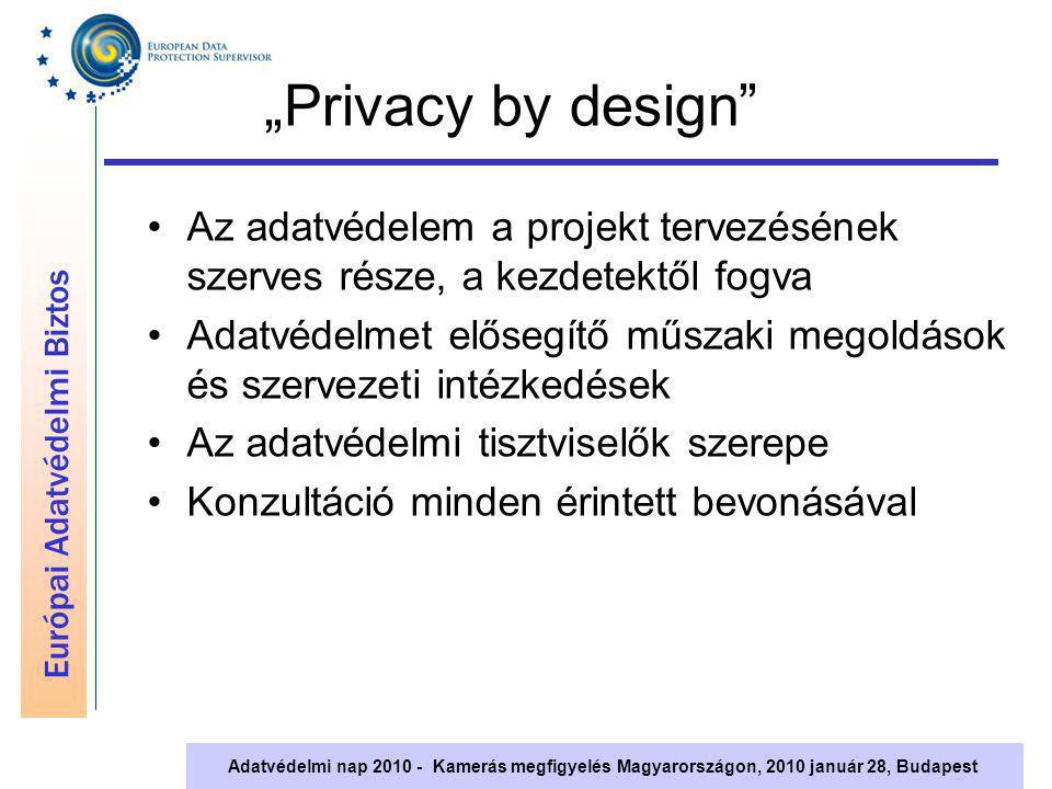 """Európai Adatvédelmi Biztos Adatvédelmi nap 2010 - Kamerás megfigyelés Magyarországon, 2010 január 28, Budapest """"Privacy by design"""" Az adatvédelem a pr"""