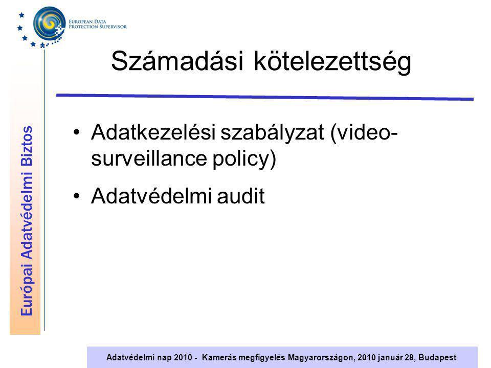 Európai Adatvédelmi Biztos Adatvédelmi nap 2010 - Kamerás megfigyelés Magyarországon, 2010 január 28, Budapest Számadási kötelezettség Adatkezelési sz